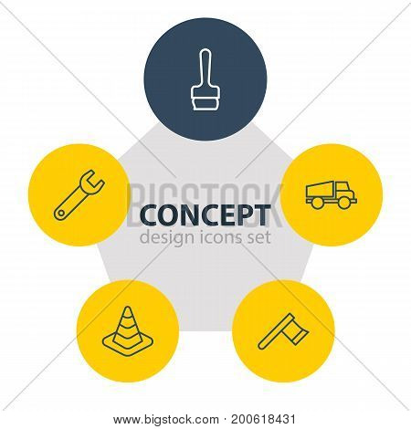 Editable Pack Of Paintbrush, Spanner, Hatchet And Other Elements.  Vector Illustration Of 5 Industry Icons.