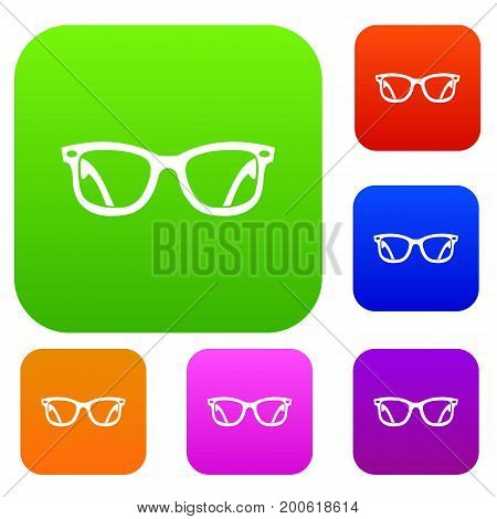 Eyeglasses set icon in different colors isolated vector illustration. Premium collection