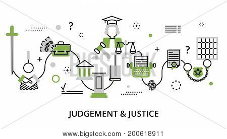 Modern flat thin line design vector illustration greenery concept of judgment process protection of human rights and ordinances of justice for graphic and web design
