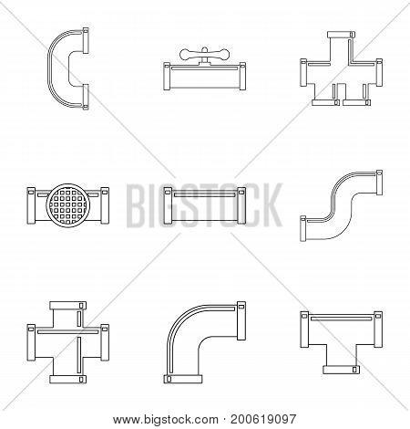 Water connector equipment icon set. Outline set of 9 water connector equipment vector icons for web isolated on white background