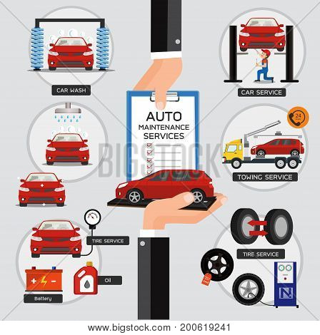 Automobile service and customer bring to maintenance car.Vector illustration concept