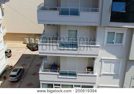 Alanya, Turkey, July 2017: balconies and loggias of Turkish hotels.