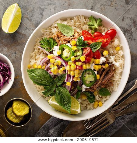 Mexican dinner bowl with rice and pulled pork