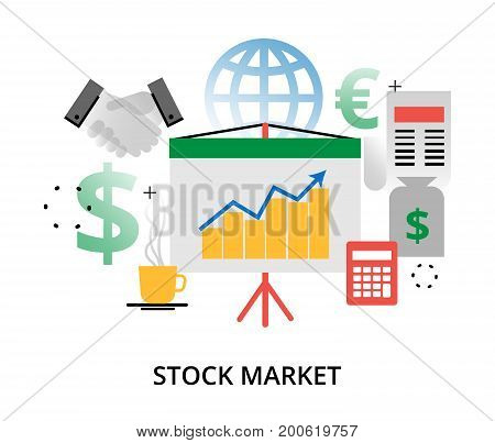 Modern flat design vector illustration infographic concept of investment process and stock market for graphic and web design