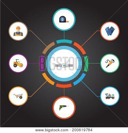 Flat Icons Handcart, Pipeline Valve, Pneumatic Vector Elements