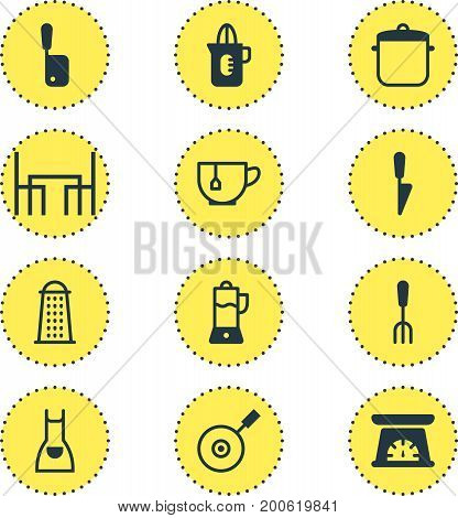 Editable Pack Of Slicer, Smock, Butcher Knife And Other Elements.  Vector Illustration Of 12 Cooking Icons.