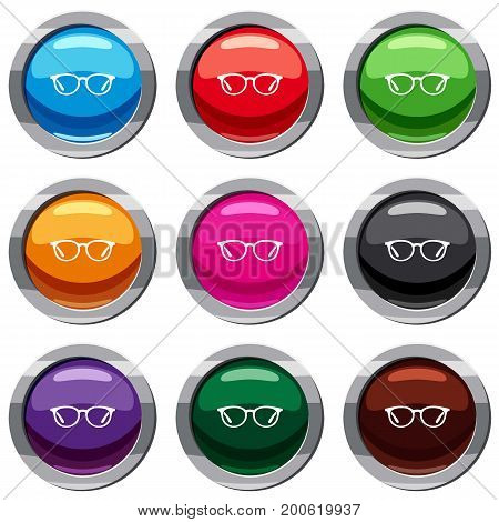 Glasses set icon isolated on white. 9 icon collection vector illustration