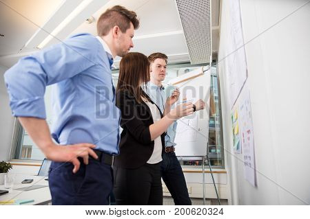 Low angle view of male and female professionals looking at plans stuck on wall in office