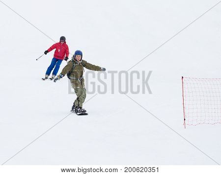 Sochi - March 28 2017: People skiing and snowboarding in the mountains March 28 2017 Sochi Russia