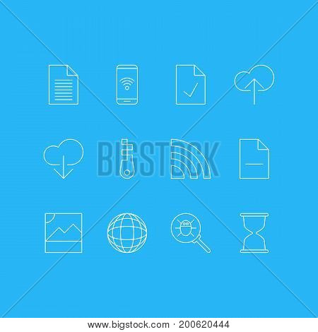 Editable Pack Of Telephone, Data Upload, Bug And Other Elements.  Vector Illustration Of 12 Network Icons.