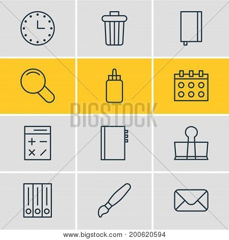 Editable Pack Of Archive, Calculate, Binder Clip And Other Elements.  Vector Illustration Of 12 Stationery Icons.