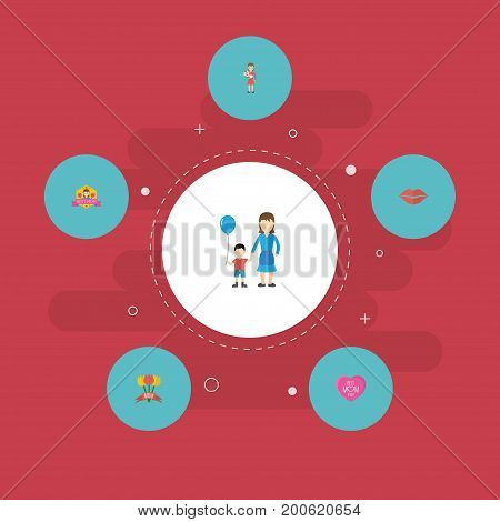 Happy Mother's Day Flat Icon Layout Design With Best Mother Ever, Emotion And Son Symbols