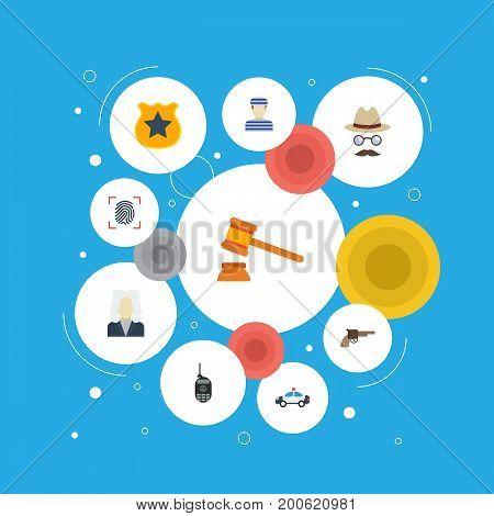 Flat Icons Prisoner, Officer Emblem, Judge Gavel And Other Vector Elements
