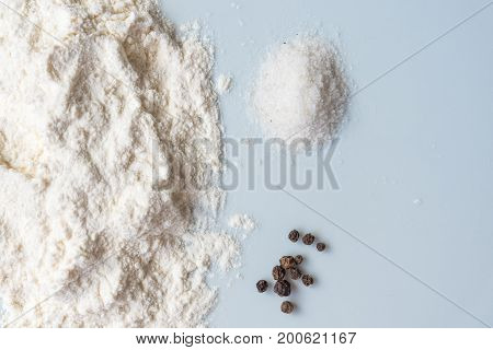 Baking Class Or Recipe Concept On Dark Background, Sprinkled Wheat Flour With Free Text Copy Space.