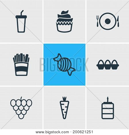 Editable Pack Of Dessert, Potato, Bunch Of Grapes And Other Elements.  Vector Illustration Of 9 Food Icons.