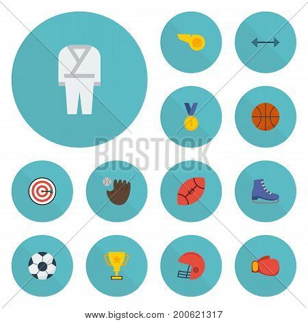Flat Icons Ball, Ice Boot, Uniform And Other Vector Elements