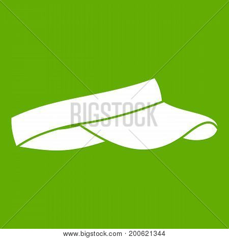 Golf visor icon white isolated on green background. Vector illustration