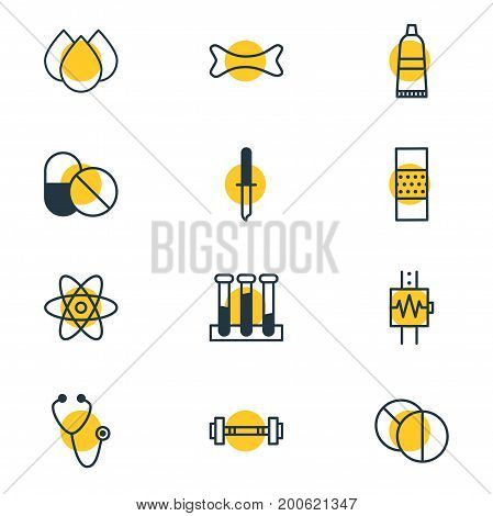 Editable Pack Of Antibiotic, Tube, Dumbbell And Other Elements.  Vector Illustration Of 12 Health Icons.