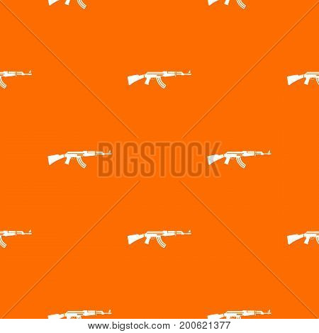 Military rifle pattern repeat seamless in orange color for any design. Vector geometric illustration