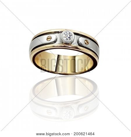 Engagement Gold with stone ring. 3D illustration