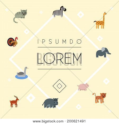 Flat Icons Swine, Horse, Moose And Other Vector Elements