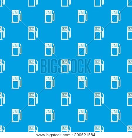 Gasoline pump pattern repeat seamless in blue color for any design. Vector geometric illustration