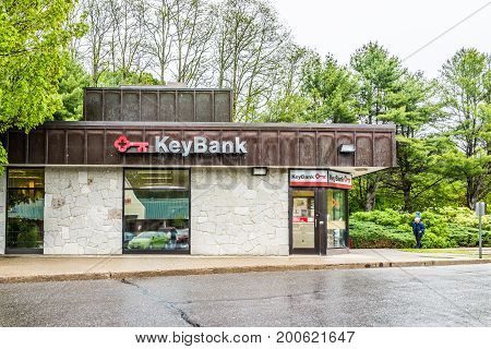 Camden, Usa - June 9, 2017: Keybank Bank In Maine City With Sign And Building