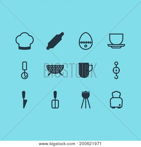 Editable Pack Of Bakery Roller, Cooking Spade, Chef Hat And Other Elements.  Vector Illustration Of 12 Kitchenware Icons.