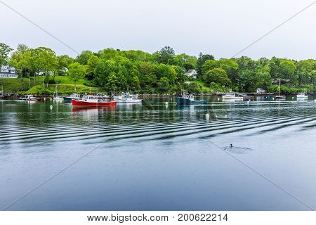 Rockport, Usa - June 9, 2017: Empty Marina Harbor In Small Village In Maine During Rain With Boats