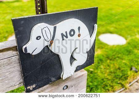 Damariscotta, Usa - June 9, 2017: No Dog Pooping Bathroom Sign In Small Village In Maine