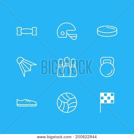 Editable Pack Of Puck, Helmet, Badminton And Other Elements.  Vector Illustration Of 9 Athletic Icons.