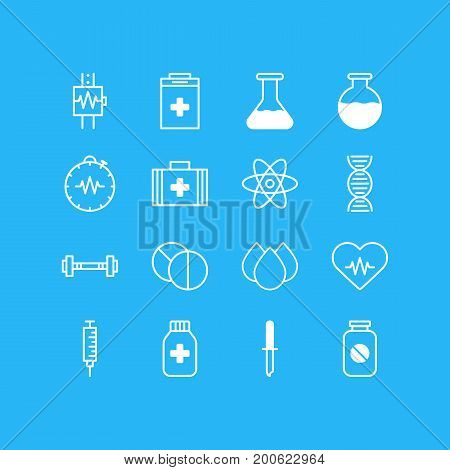 Editable Pack Of Pressure Gauge, Vial, Trickle And Other Elements.  Vector Illustration Of 16 Medical Icons.