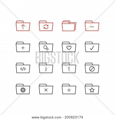Editable Pack Of Dossier, Information, Minus And Other Elements.  Vector Illustration Of 16 Dossier Icons.