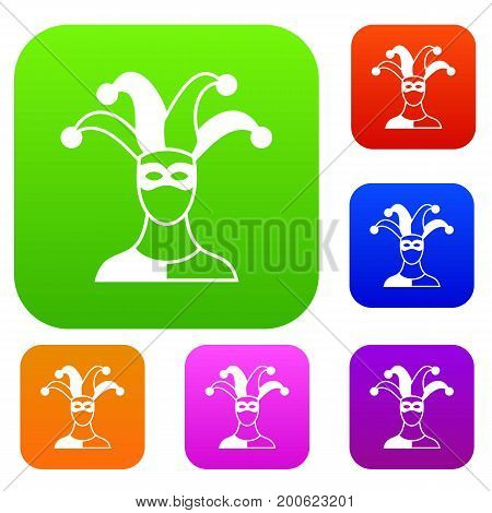 Jester set icon in different colors isolated vector illustration. Premium collection
