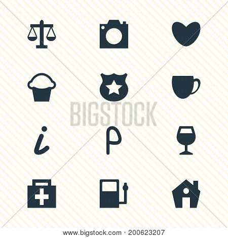 Editable Pack Of Photo Device, Wineglass, Home And Other Elements.  Vector Illustration Of 12 Location Icons.