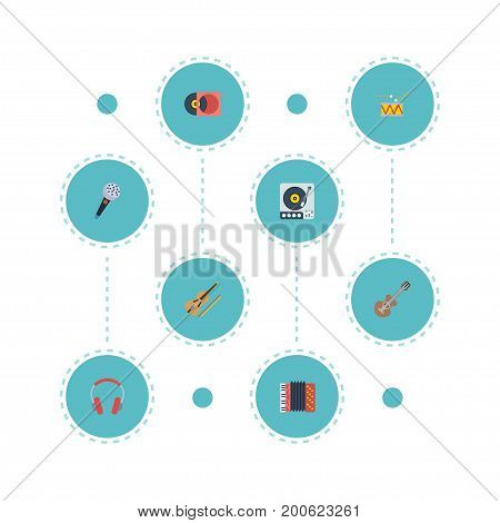 Flat Icons Harmonica, Retro Disc, Fiddle And Other Vector Elements