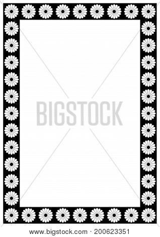 Vector Flower Page border A4 design for project