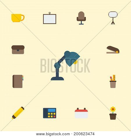 Flat Icons Board Stand, Date, Puncher Vector Elements