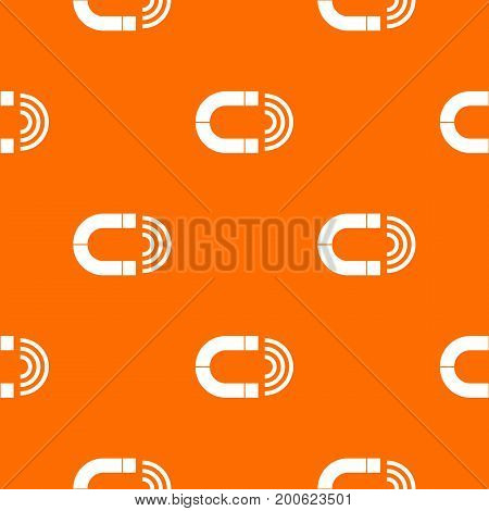 Magnet pattern repeat seamless in orange color for any design. Vector geometric illustration
