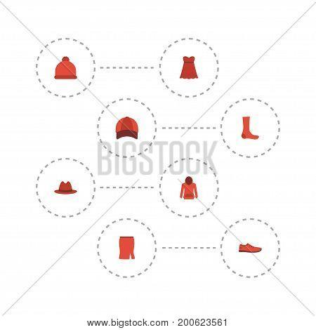 Flat Icons Hosiery, Fedora, Sweatshirt And Other Vector Elements