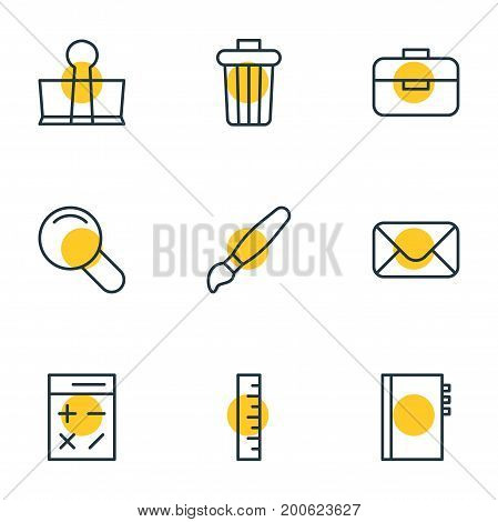Editable Pack Of Meter, Garbage Container, Binder Clip And Other Elements.  Vector Illustration Of 9 Instruments Icons.