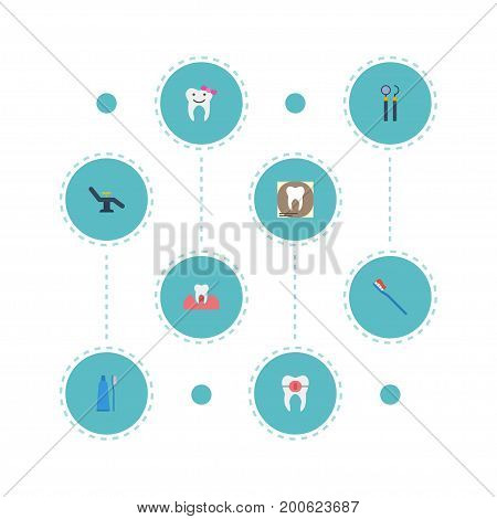 Flat Icons Hygiene, Brace, Children Dentist And Other Vector Elements