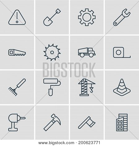 Editable Pack Of Harrow, Measure Tape, Hatchet And Other Elements.  Vector Illustration Of 16 Industry Icons.