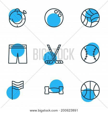 Editable Pack Of Uniform, Dumbbell, Kegling And Other Elements.  Vector Illustration Of 9 Fitness Icons.