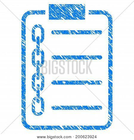 Grunge Blockchain Contract rubber seal stamp watermark. Icon symbol with grunge design and scratched texture. Unclean vector blue sign.