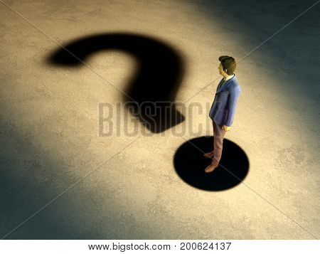 Young businessman whose shadow create a question mark. 3D illustration.