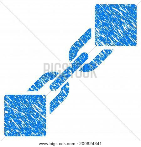 Grunge Blockchain rubber seal stamp watermark. Icon symbol with grunge design and scratched texture. Unclean vector blue sticker.