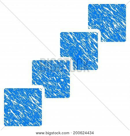 Grunge Blockchain rubber seal stamp watermark. Icon symbol with grunge design and dust texture. Unclean vector blue sign.