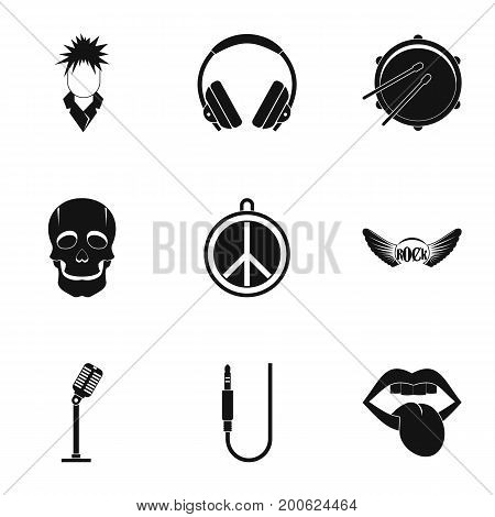 Rock equipment icon set. Simple set of 9 rock equipment vector icons for web isolated on white background