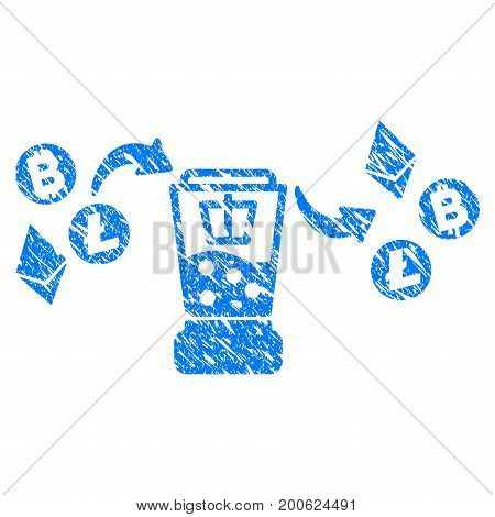 Grunge Cryptocurrency Mixer rubber seal stamp watermark. Icon symbol with grunge design and scratched texture. Unclean vector blue sign.